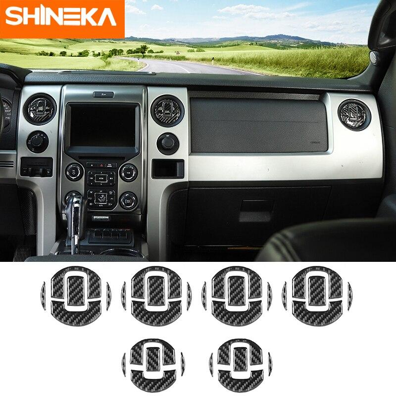 SHINEKA-moulage intérieur pour tableau de bord en Fiber de carbone, accessoires, housse de tableau de bord, garniture décorative pour tableau de bord, pour Ford F150 2009-2014