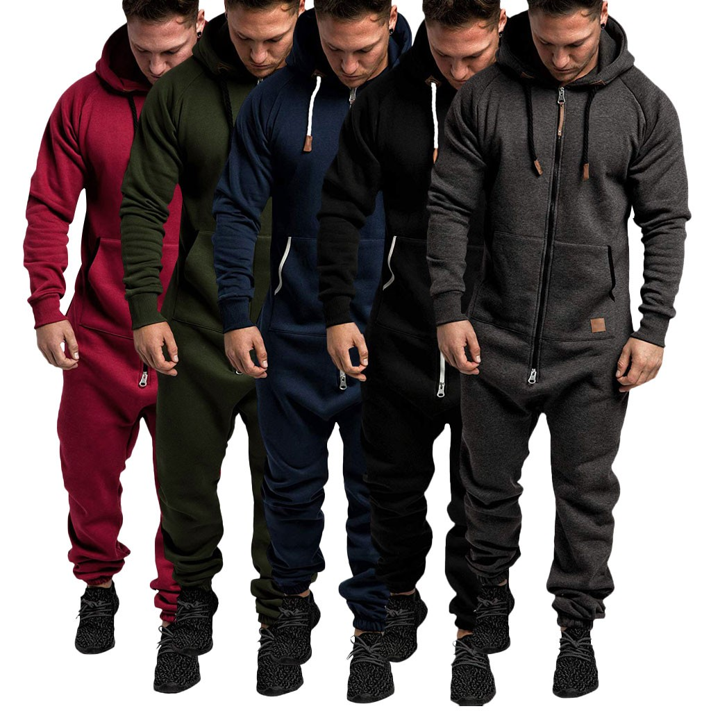 Pants Men Streetwear Sweatpants штаны Pure Color Splicing Autumn Winter Casual Hoodie Print Zipper Jumpsuit Free Ship Z4