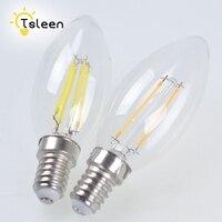 E14 de luz de filamento 220V bombilla de vidrio TSLEEN 10 unids/lote Retro Vintage COB bombilla LED Edison lámpara 4W 8W Lampada Led llama de vela de luz