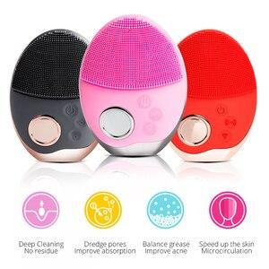 Image 2 - Yüz temizleme fırçası ultrasonik yüz temizleme fırçası elektrikli kablosuz yüz fırça cilt yüz masajı