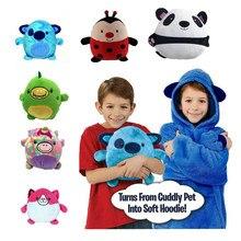 Crianças animais de estimação hoodie cobertor moletom com capuz moletom em forma de animal de estimação wearable hoodie velo inverno pet hoodie para crianças dropshipping