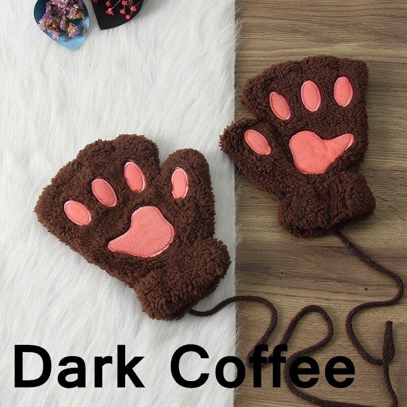 Зимние теплые перчатки женские Красивая кошачья лапа коготь плюшевые варежки короткие перчатки женские зимние перчатки без пальцев - Цвет: 10