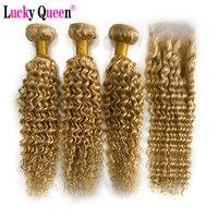 Deep Wave Blonde 613 Bundles With Closure Peruvian Human Hair Weave Bundles With Closure 4x4 Free Part Lucky Queen Remy Hair