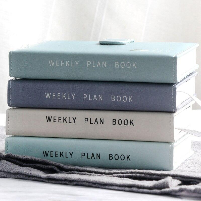 Bonito cor sólida fivela magnética design 365 dia plano semanal diário planejador cadernos a6 revistas material escolar papelaria presente