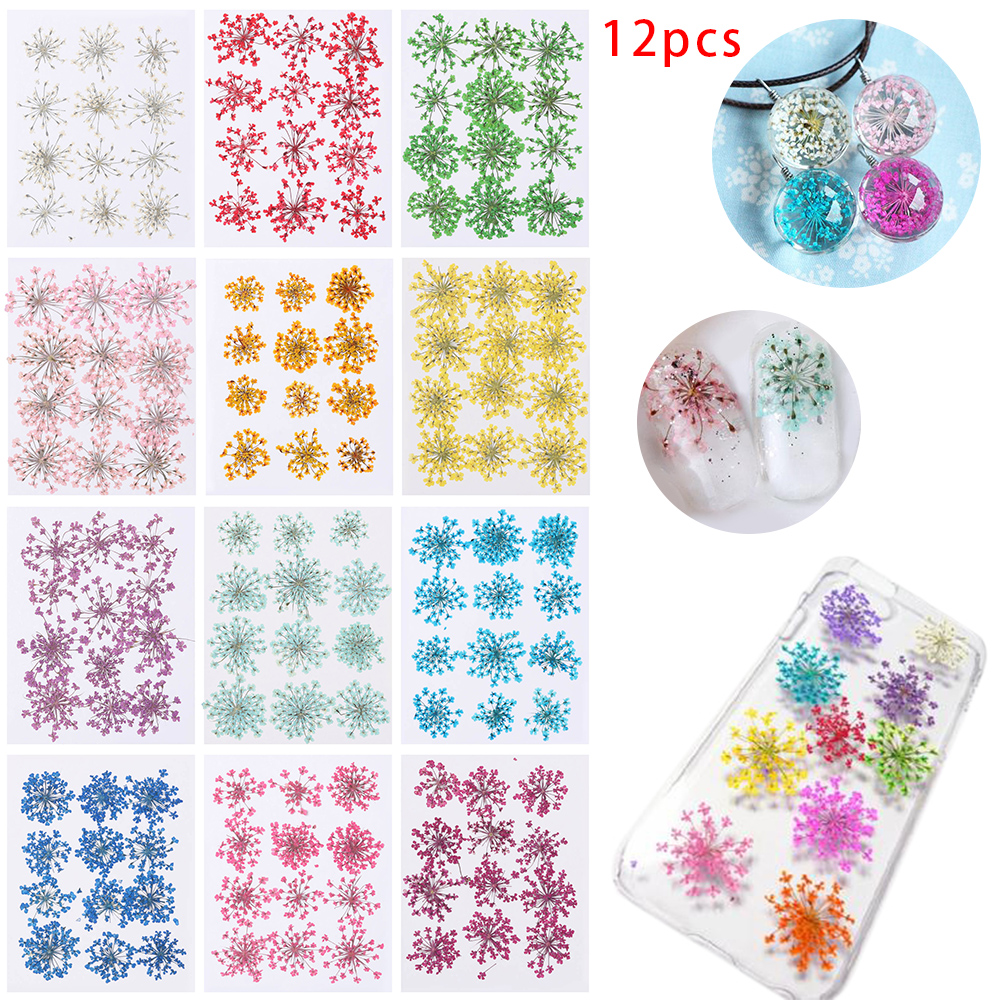 Blue Series Real Pressed Flower Craft Dome Stickers