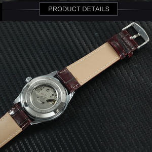 Image 4 - Мужские автоматические механические наручные часы WINNER официально деловое платье с коричневым ремешком из натуральной кожи