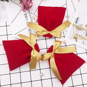 Image 4 - 50Pcs 7cm x 9cm Schmuck Samt Taschen Mit Band Flanell Beutel Hochzeit Süßigkeiten Geschenk Verpackung Weihnachten Dekoration kann Individuelles Logo