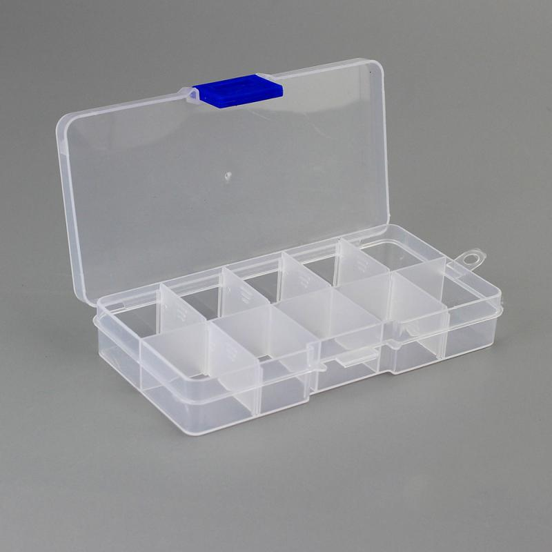 Clear Detachable Compartments Plastic Transparent Organizer Jewel Bead Case Cover Container Storage Box For Jewelry Pill Finish