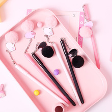 Creative cute neutral pen 0.5mm Plush PENDANT Metal piglet black ink signature student stationery