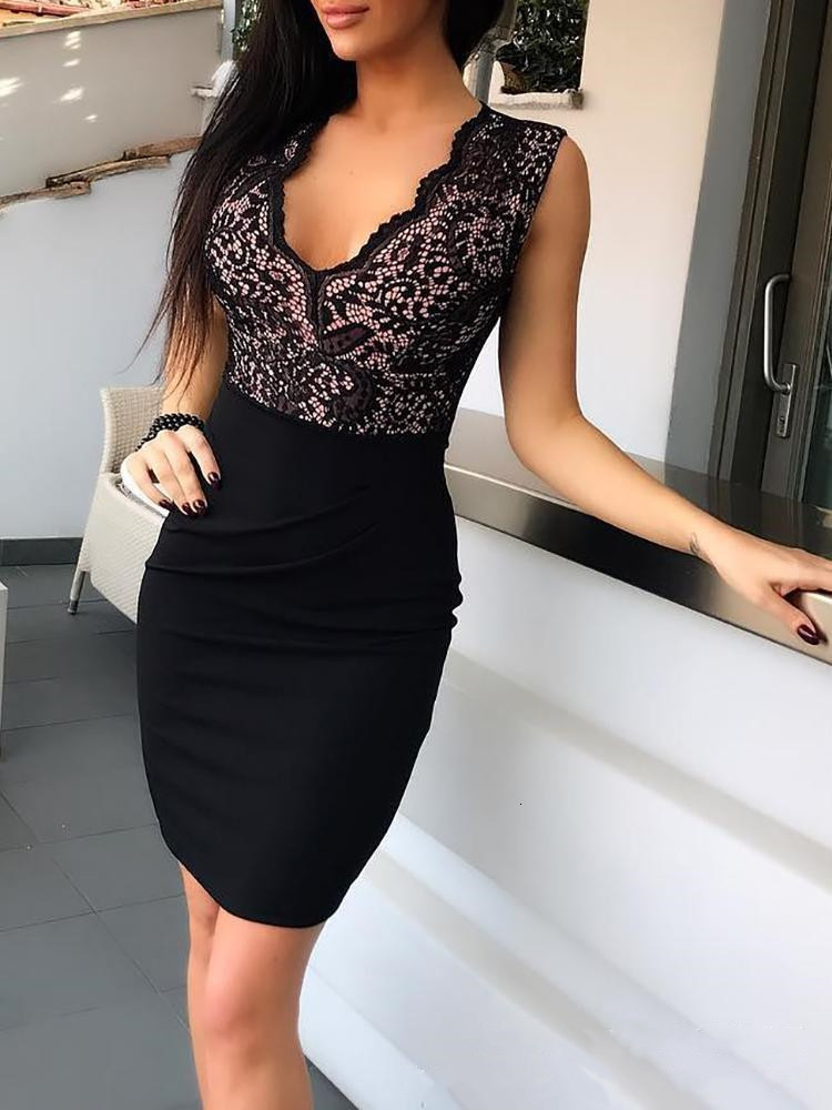 BacklakeGirls Black Lace Sexy V Neck Sleeveless Cocktail Dress 2019 Short Cocktail Party Dress Vestidos De Fiesta Cortos