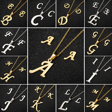 Gold Initial Letter Necklace for Women A-Z Alphabet Pendant Stainless Steel Chain Necklaces Punk Jewelry Christmas Bijoux Femme