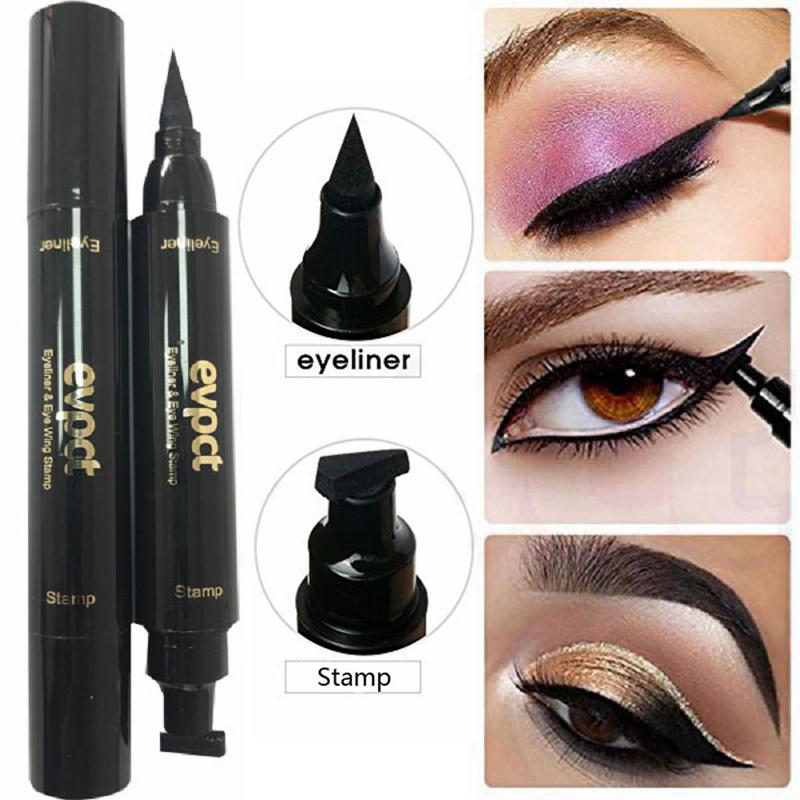Double Headed Eyeliner Stamp 2 In1 Quick drying Liquid Eyeliner Waterproof Easy to use Stamp Eye Liner Black Smooth Eye Makeup