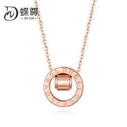 18 K Collana In Oro Collana Trasferimento Perla In Oro Rosa Lettera Doppio Pulsante con AU750 Oro Catena Clavicola