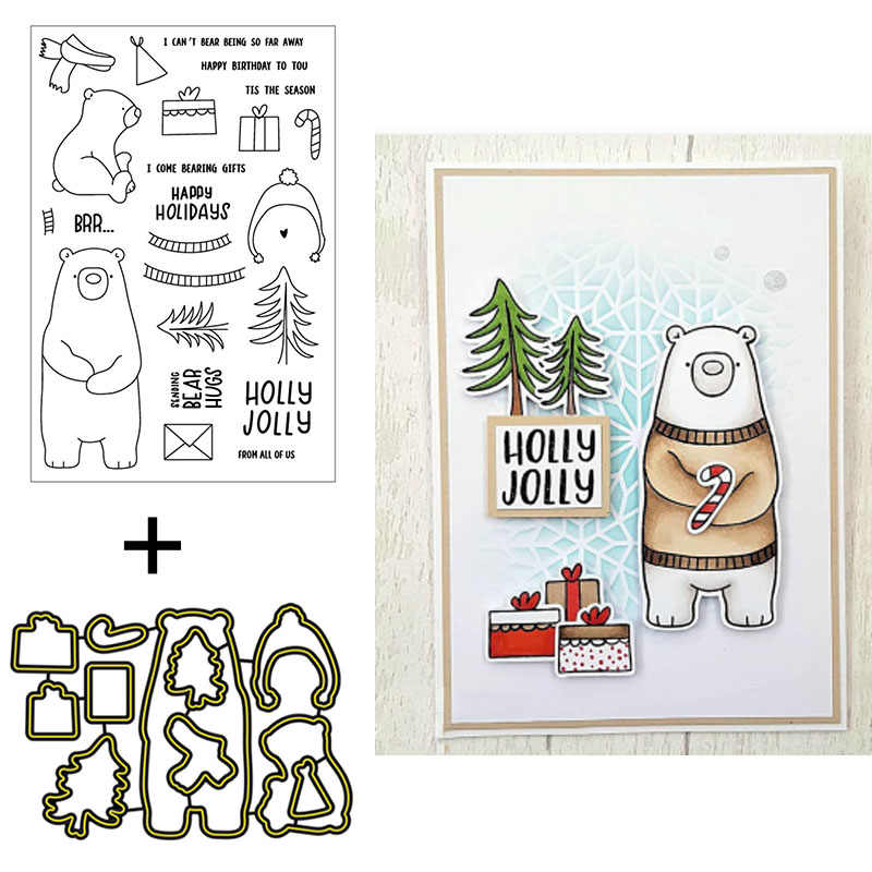 Cute Bear Clear Silicone Stamp Cactus DIY Scrapbooking Card Journal Planner Gift