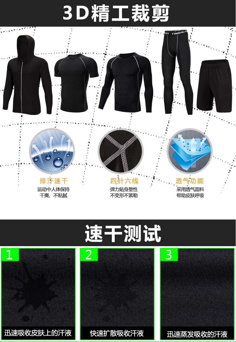 Foto of 3D structure 5 pcs compressions clothes for gym. Men's 5 pcs compression tracksuit sports black color