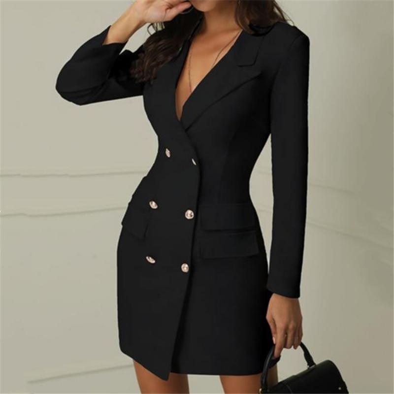 Autumn Winter Suit Blazer Women New Casual Double Breasted Pocket Women Jackets Blazer Outerwear