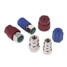 Yetaha automóvil A/C 3/8 7/16 adaptadores rectos R12 R22 A R134a con núcleo de válvula extraíble y tapas de puerto de servicio