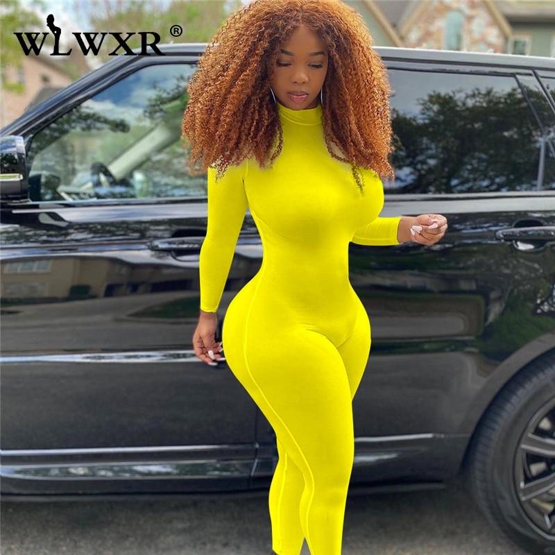 WLWXR Streetwear White Yellow One Piece Bodycon Jumpsuit Women Autumn Ladies Romper Women Skinny Long Sleeve Jumpsuit Female|Jumpsuits| - AliExpress