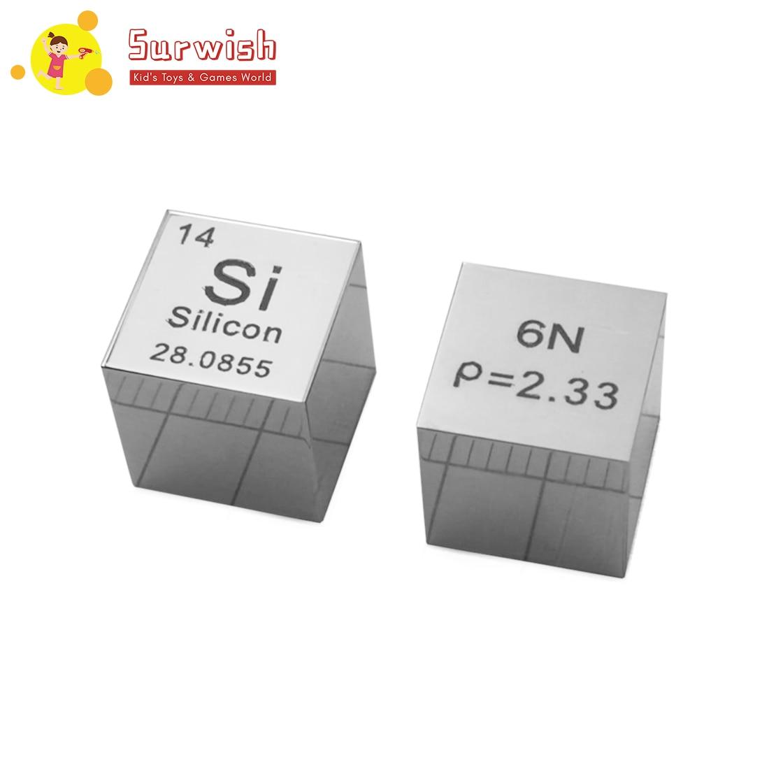 1 pièces 10X10X10mm Surface miroir haute pureté 6N monocristallin silicium Cube Table périodique d'éléments Cube (Si≥6N %)