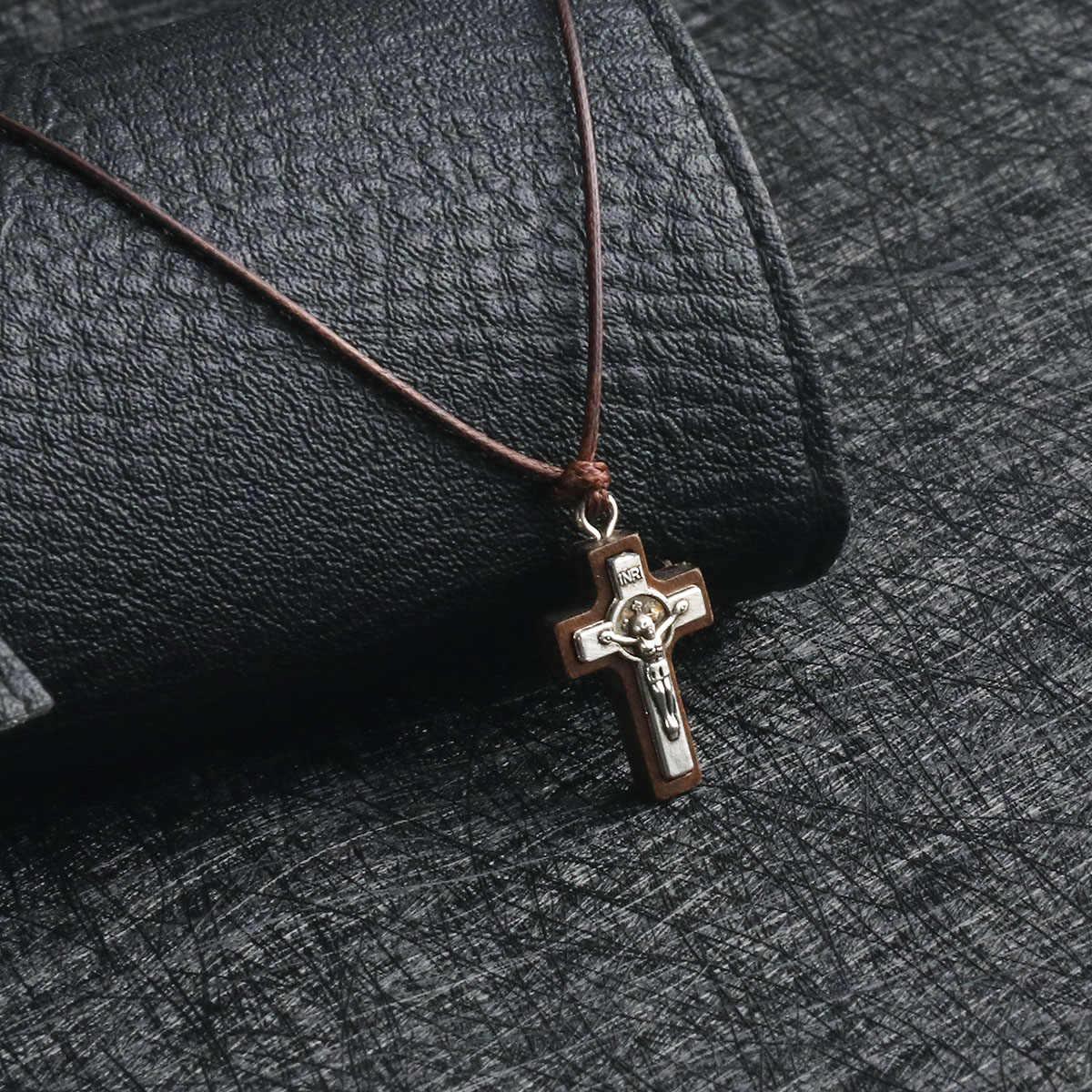 Joielavie Collier Pendentif pour Homme Femme en Bois avec Cordon Croix Crucifix Sacr/é Vintage Fait Main Bijoux Noir Brun