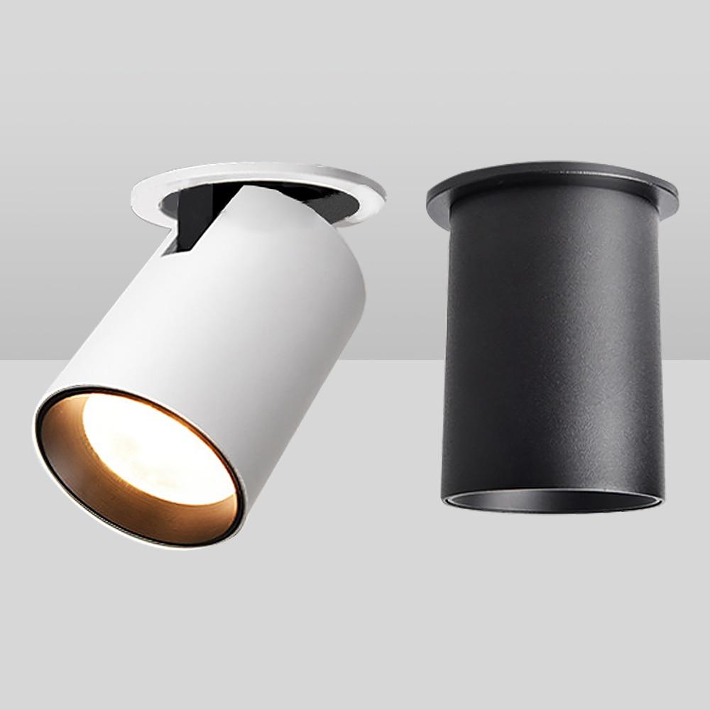 Zerouno Ressessed Led Light Home Spotlights 7w 12w 350 Degree Adjustable Cob Spot Lights 220v White Black High Luminaire Lampada