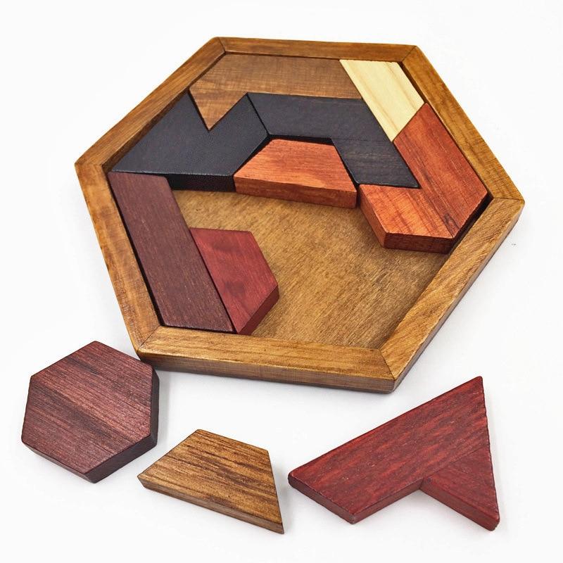 Quebra-cabeças de madeira hexagonal iq jogo brinquedos educativos para crianças adultos placa tangram iq cérebro teaser montessori brinquedos presentes