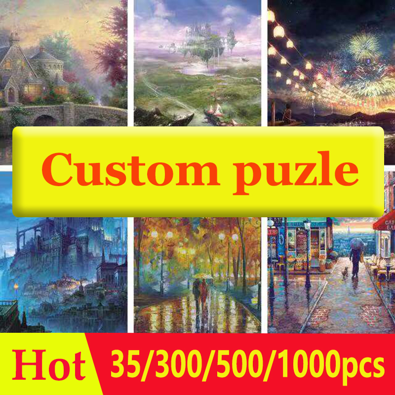 35/300/500/1000pcs Photo Custom Wooden Personalized Jigsaw Puzzle Picture DIY Toys For Adults Decoration Collectiable