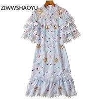 ZIWWSHAOYU Elegant Ruffles Flare Sleeve Women Summer Vintage Midi Dress Ladies Sequined Embroidery Mesh Party Dresses Vestidos