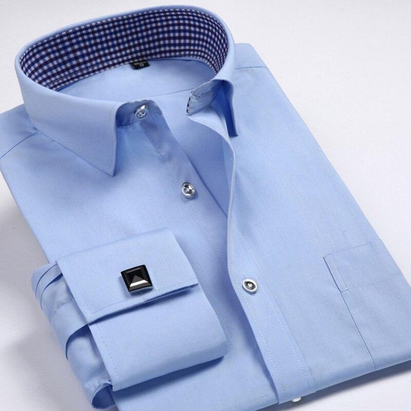 Men's Dress Shirts Loose French Cuff Regular fit Luxury Striped Business Long Sleeve Cufflinks Social Pluse Size Men Shirt 6XL 12