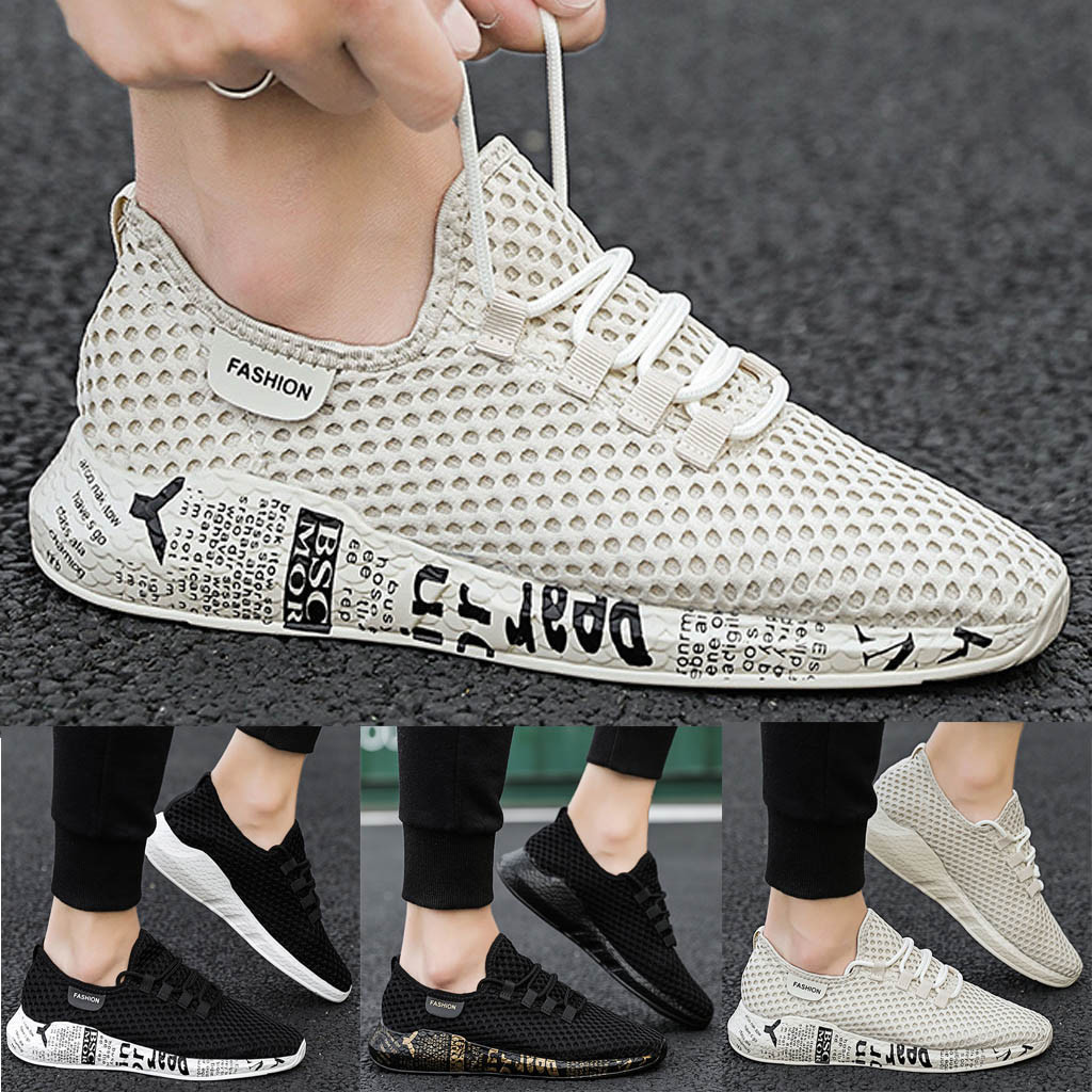 New Men/'s Fashion Mesh Sneakers Breathable Lace Up Casual Athletic Sports Shoes