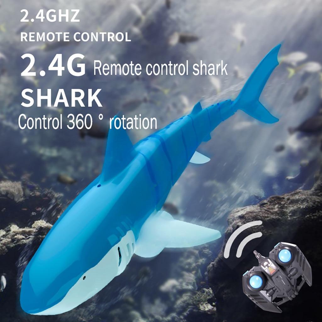 2,4G simulación de Control remoto tiburón barco juguete para piscina baño juguete Control 360 rotación a prueba de agua RC tiburón juguetes regalos