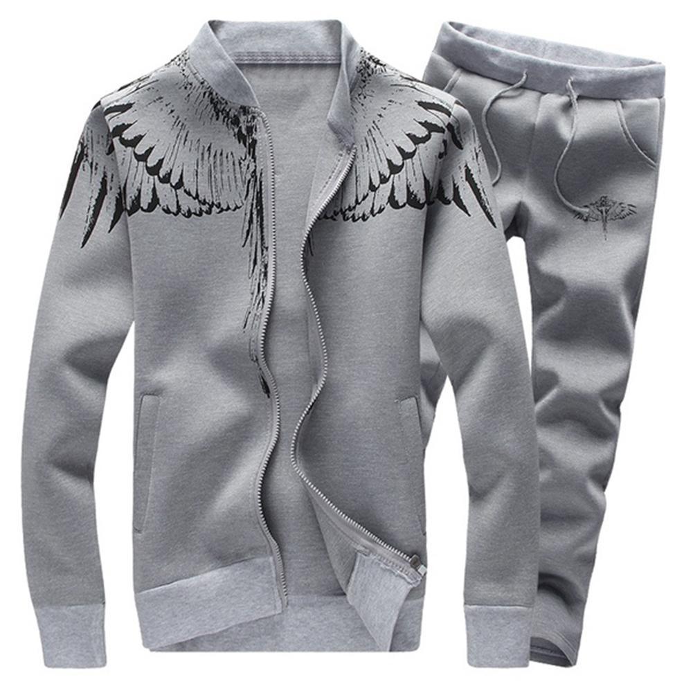 2Pcs/Set Men Wing Print Long Sleeve Sweatshirt Cardigan Jacket Pants Tracksuit Men's Clothing