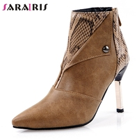 SARAIRIS New Fashion Plus Size 32 48 High Heels Ankle Boots Woman Shoes Women Pointed Toe Casual Party Office Sexy Boots Female