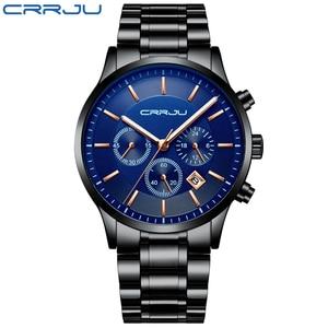 Image 2 - CRRJU New Fashion Men Watch Classic Business Multifunction Chronograph Quartz Wristwatch Casual Waterproof Stainless Steel Clock