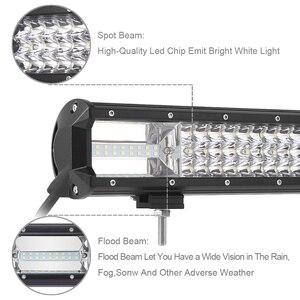 Image 4 - Üçlü satır Led çalışma ışığı Off road Bar için 12V araba Uza tekne ATV 4WD Suv kamyonlar 4x4 Offroad Lada Niva Combo sürüş Barra ışıkları