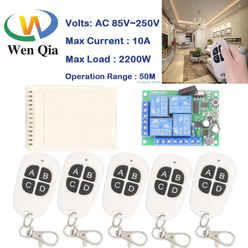 Wenqia Remote Control Switch 433Mhz 110V 220V 10A 2200W 4CH rf Relay Receiver and Transmitter for Garage door/Light/LED Switch