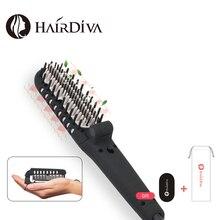 HairDiva Dual Ionic Hair Brush Straightener Ceramic Electric Hair Straightening Brush Fast Heat Up Hair and Beards 2 In 1