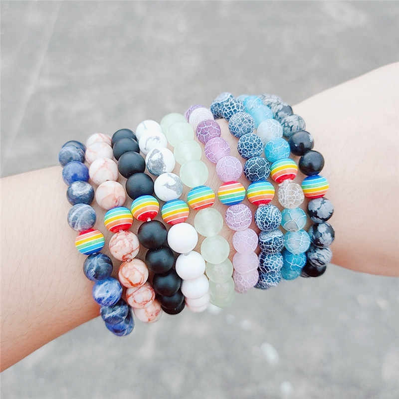 2019 New Rainbow Gay Peace Couple Beaded Bracelet 8mm Natural Stone Male Female LGBT Handmade Bracelets Jewelry Gift Souvenirs