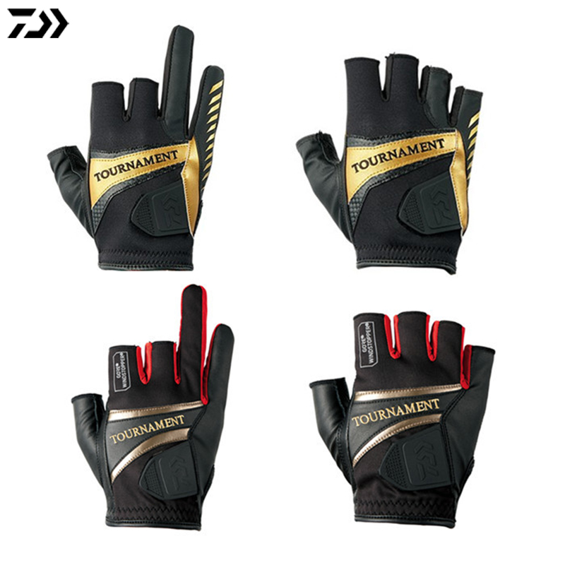 3 Or 5 Half Cut Finger Leather Red Yellow Fishing Gloves Anti Slip Fishing Gloves/Outdoor Sports Slip-Resistant Gloves image