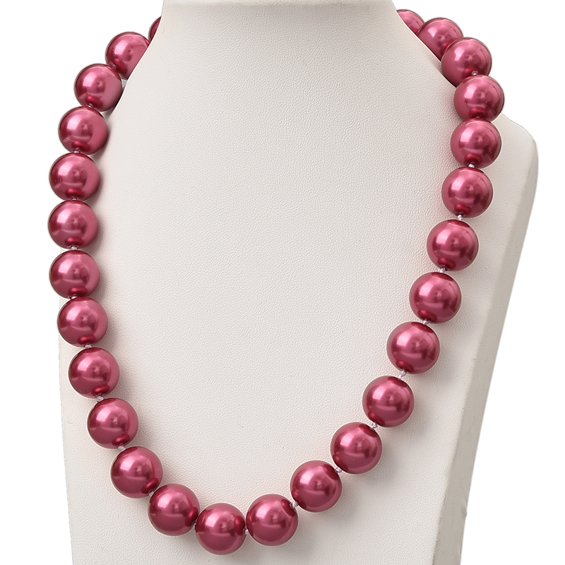 Glittering Rose Red Round Pearls Chain Necklace 14mm Diy Imitation Pearls Necklace 18inch For Elegant Ladies Party Gift H811 image