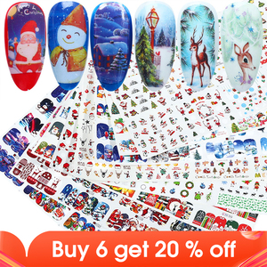 Image 1 - 12pcs Christmas Nail Stickers Santa Claus Elk Snowman Water Transfer Sliders for Nails Cartoon Winter New Year Manicure JIBN/A 1