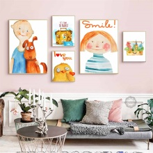 Cartoon Boy Girl Children Nordic Combination Posters And Prints Wall Art Canvas Painting Pictures Baby Room Decor
