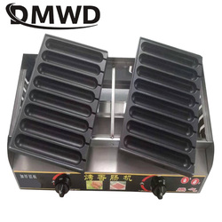 DMWD Commercial gas Crispy French Hot Dog Lolly Stick Baking Machine 16 Grids Muffin Corn Sausage Grill Waffle Snacks Maker