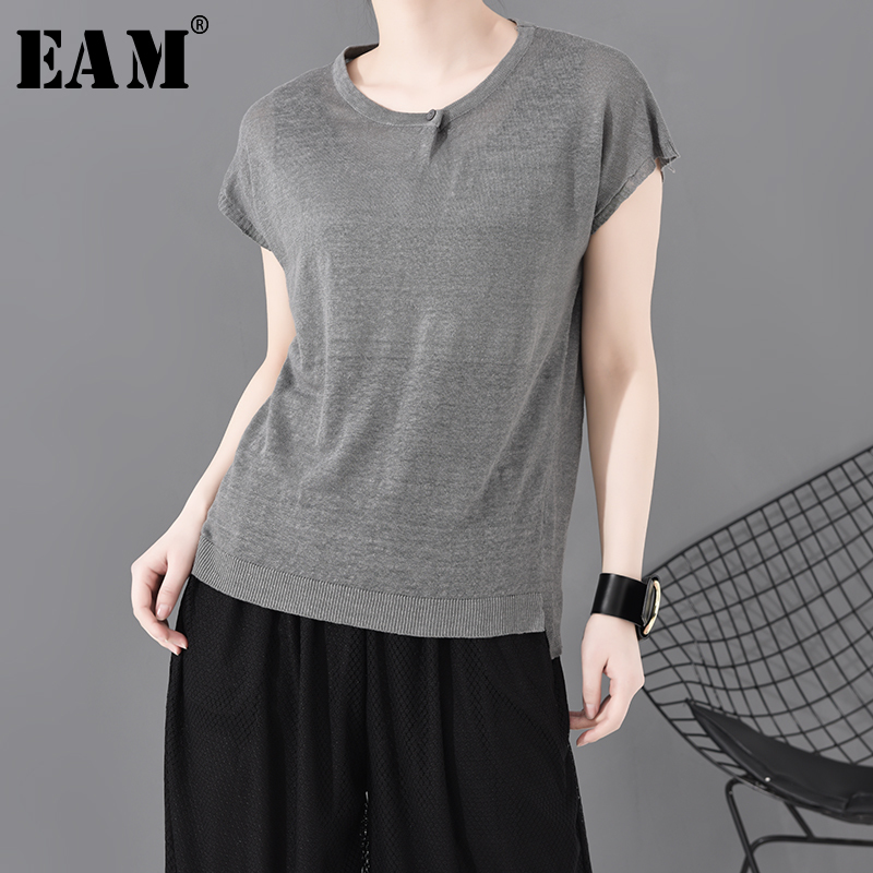 [EAM] Women Gray Split Joint Knitting Thin Temperament T-shirt New Round Neck Long Sleeve  Fashion Tide Spring Summer 2020 1S772