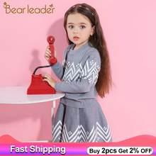 Bear Leader Girls Skirt Sets 2020 New Spring&Winter Geometric Pattern Long Sleeve Sweater+Skirt 2pcs Knitwear Sets For 3-7 Years(China)