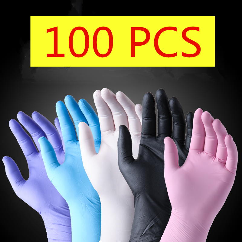 100pcs Disposable Gloves Latex Rubber Cleaning Food Gloves Universal Home Garden Clean Glove Household Cleaning Pink Blue Purple