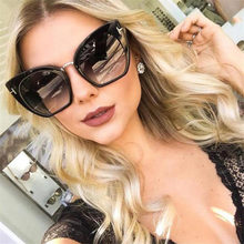 Lunettes De Soleil UV400 pour femmes, verres surdimensionnés De luxe, nuances noires, Vintage, marque De styliste, œil De chat