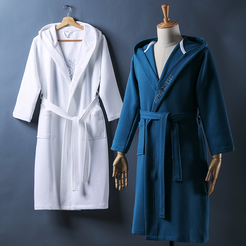 2019 Cotton Men Robes Solid Color Bathrobes High Quality Couple Thick Warm Sleepwear Plus Size Home Dress Clothes Thermal Cloths