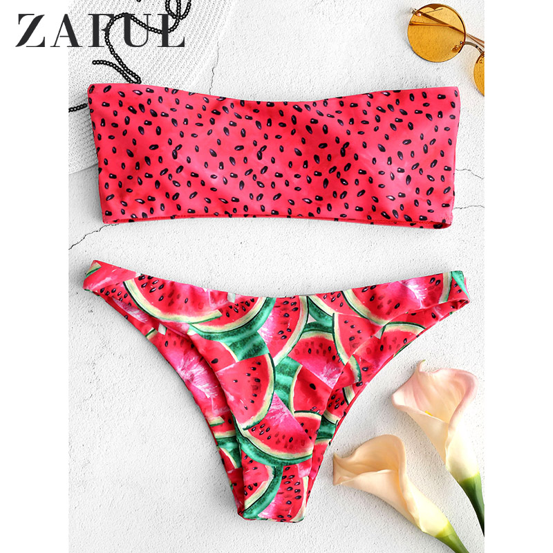 ZAFUL Watermelon Bandeau Bikini Set Siwmwear Women High Waisted Swimsuit Sexy Padded Fruit Watermelon Bathing Suit Biquni