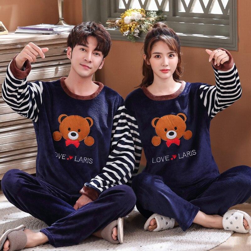 2019 Winter New Men's Flannel Pajamas Set Pajamas Men's Pajamas Home Service Long Sleeve Pajamas Thick Warm Casual